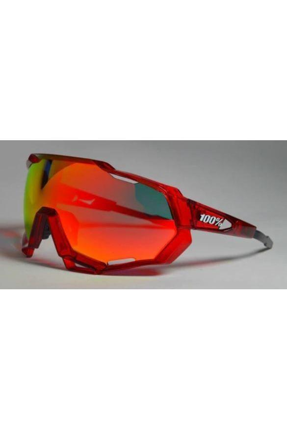 Red Polarized Cycling Glasses With 3 Lenses