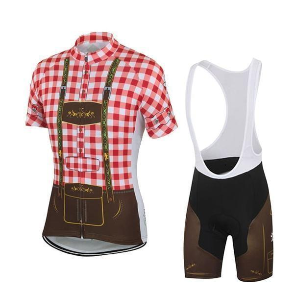 red lederhosen cycling kit