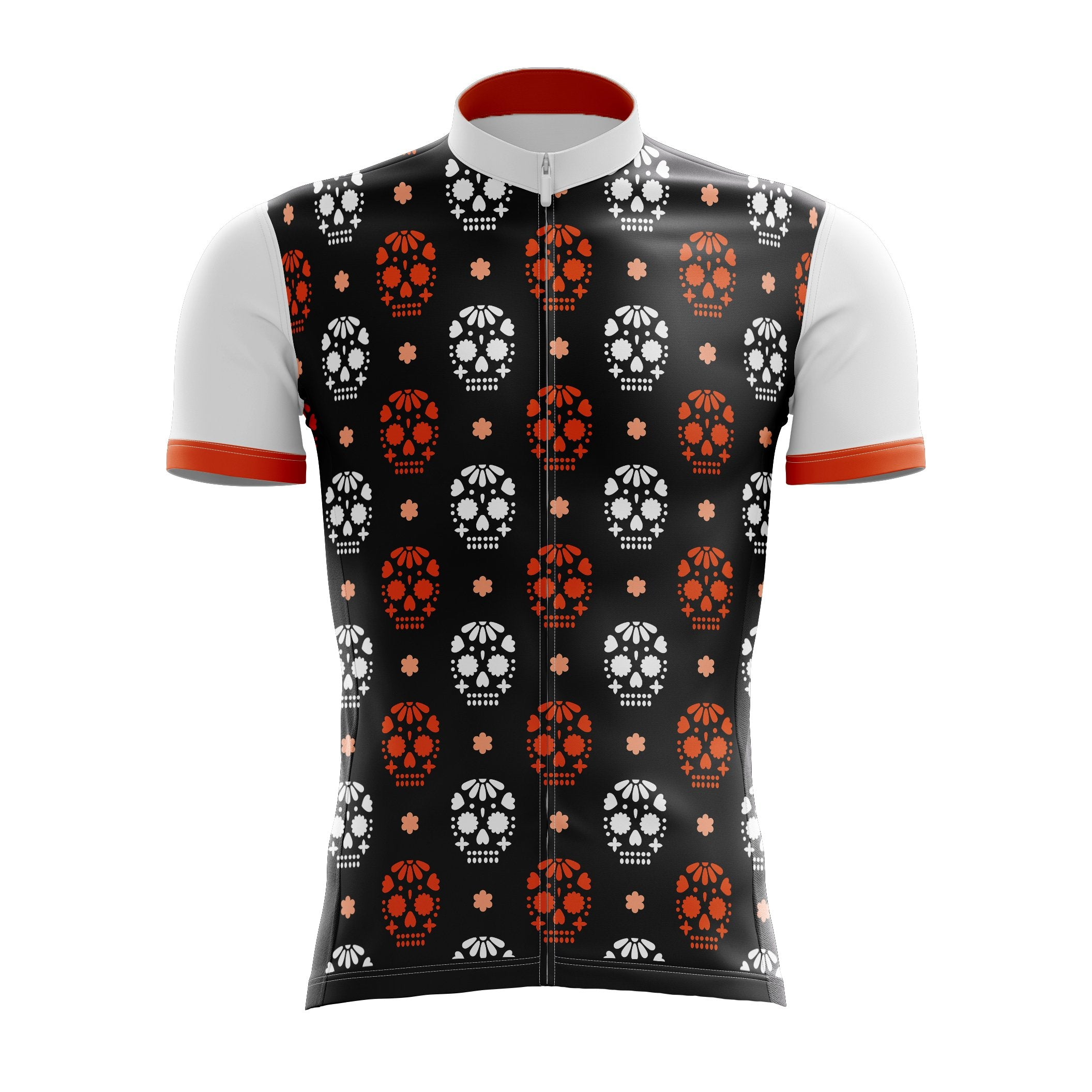 Red & White Skulls Cycling Jersey