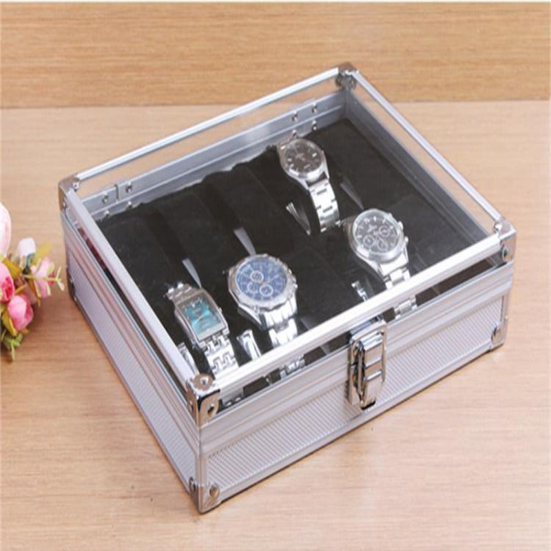 10 Grid Aluminium  Watch Display/Holder Box