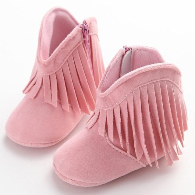 baby shoes cool anti-slip Double Fringe Fur Boot