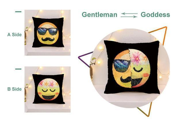 EMOJI CHANGING FACE SEQUIN PILLOW COVER