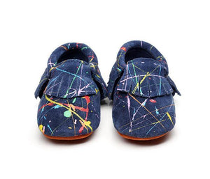 Graffiti Suede Genuine Leather Baby Moccasins
