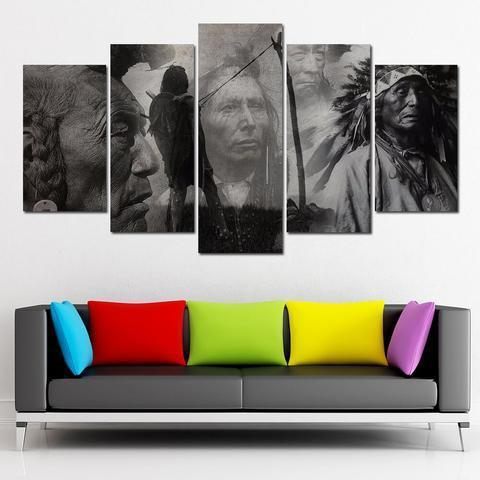 Native Chief black&white canvas