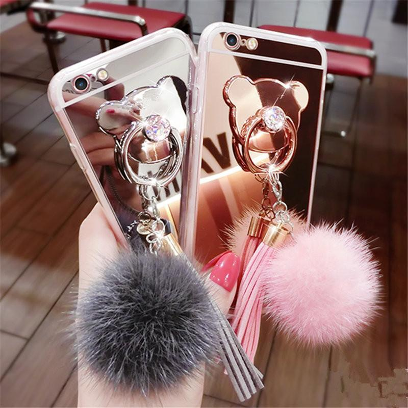 phone case Fur ball Tassels Mirror cover iphone case