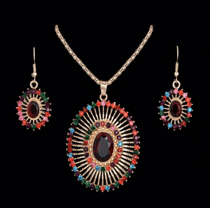 women's jewelry set Multi-colored Rhinestone Oval Shape African Beads Set For Her