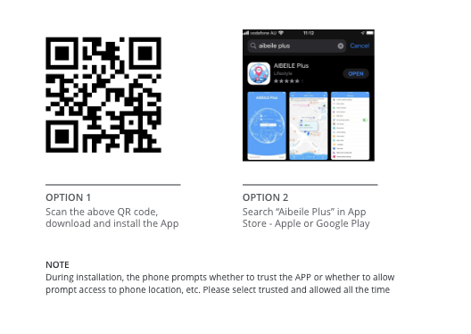 options (QR code and search for aibelee plus)
