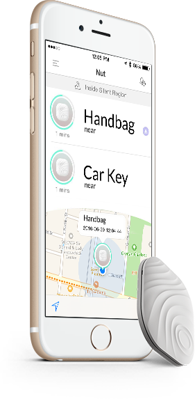 NutTag Bluetooth Tracker Grey + Phone