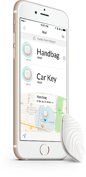 NutTag Bluetooth Tracker White + phone