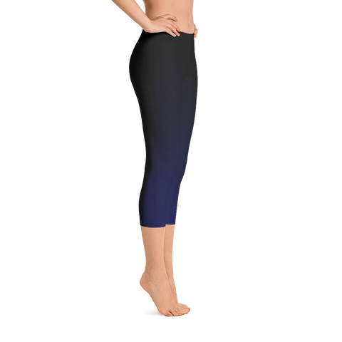 Gradient Dark Blue Capri Leggings