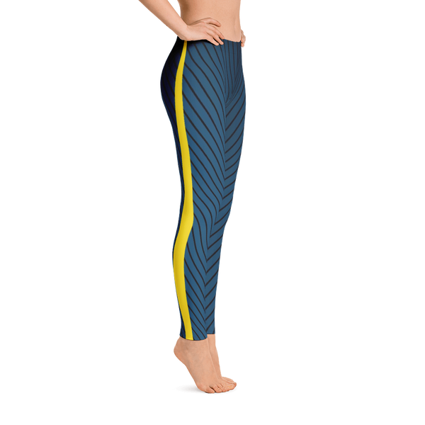 V Stripe Blue/Yellow Leggings