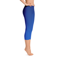 Gradient Blue Capri Leggings