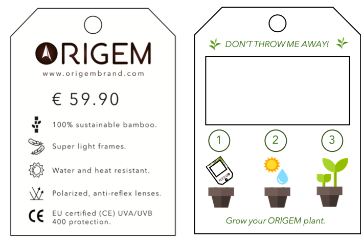 Plantable Tag - Front + Back view