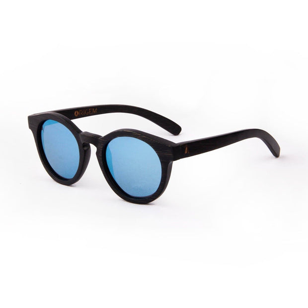 Galapagos Blue - ORIGEM sunglasses in dark brown bamboo and blue polarized mirrored lens - angle view