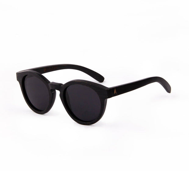 Galapagos Grey - ORIGEM sunglasses in dark brown bamboo and grey polarized lens - angle view