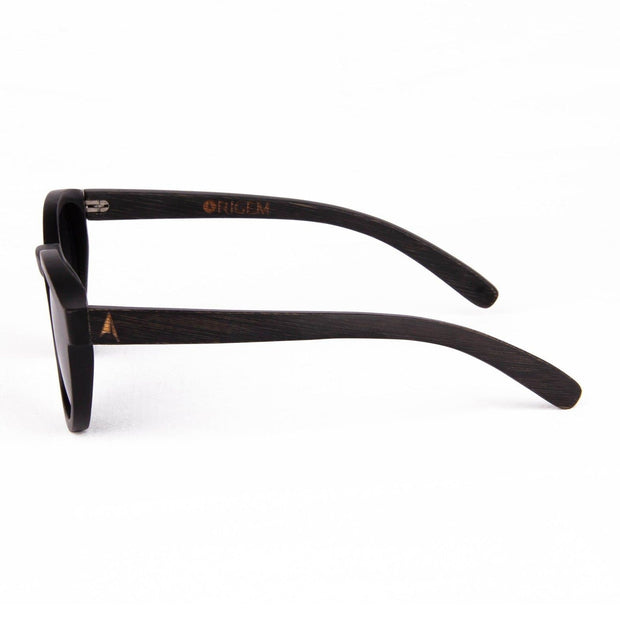 Galapagos Grey - ORIGEM sunglasses in dark brown bamboo and grey polarized lens - side view