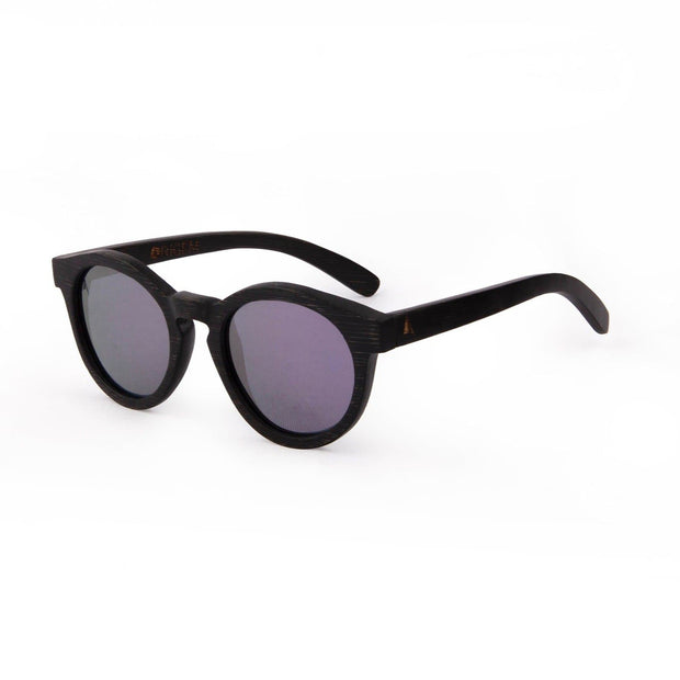 Galapagos Pink - ORIGEM sunglasses in dark brown bamboo and pink polarized mirrored lens - angle view