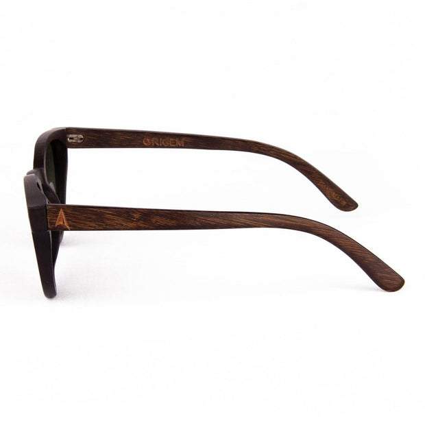 Galapagos Pink - ORIGEM sunglasses in dark brown bamboo and pink polarized mirrored lens - side view