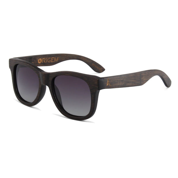 Madidi - ORIGEM sunglasses in dark bamboo and grey polarized lens - angle