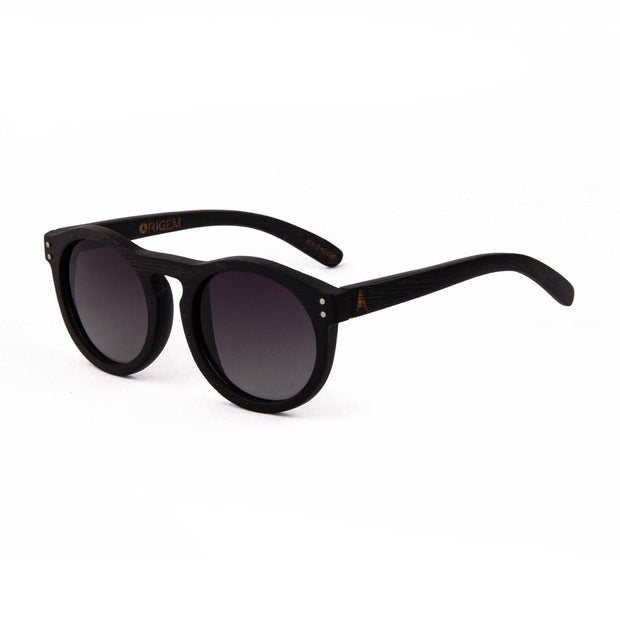 Kaimu - ORIGEM sunglasses in dark bamboo and grey polarized lens - angle view