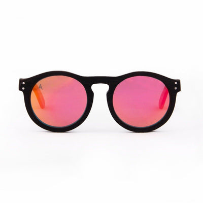 Kaimu - ORIGEM sunglasses in dark bamboo and pink polarized lens - front view