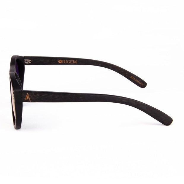 Kaimu - ORIGEM sunglasses in dark bamboo and pink polarized lens - side view