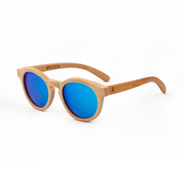 Noosa - ORIGEM sunglasses in light bamboo and blue polarized mirrored lens - angle view