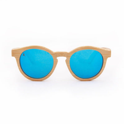 Noosa - ORIGEM sunglasses in light bamboo and blue polarized mirrored lens - front