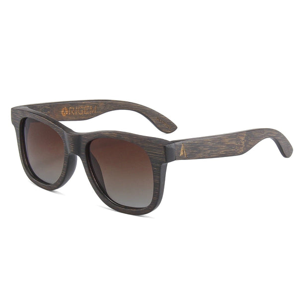 Madidi - ORIGEM sunglasses in dark bamboo and brown polarized gradient lens - angle