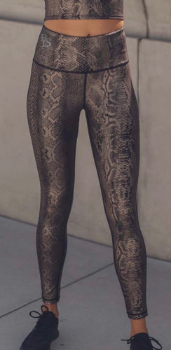 Copperhead Snake Print High-waist Leggings (Including Plus Sizes)