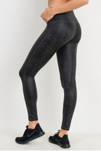 Black Mamba Snake Print High-waist Leggings (Including Plus Sizes)