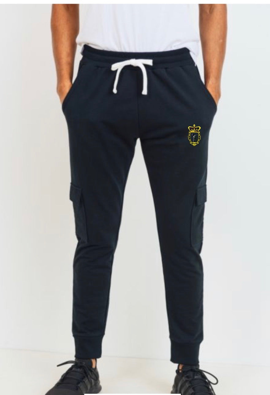 Cotton Terry Blend Cargo Joggers - Black