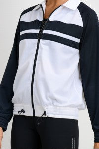 Raglan Tricot Jacket with Spread Collar - Black/White