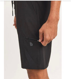Active Drawstring Shorts with Zippers - Black