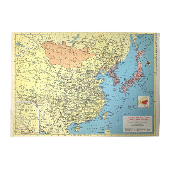 China/Southeast Asia Vintage Atlas Page