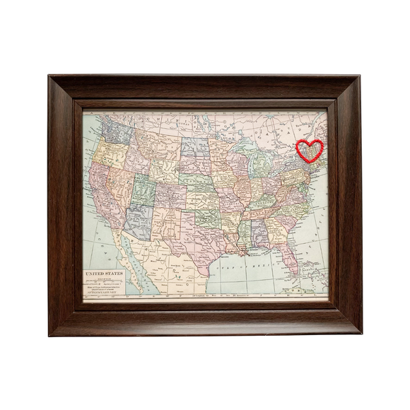 Vermont Heart USA Map - 8x10