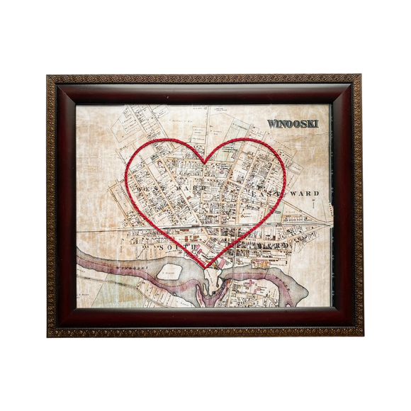 Winooski, Vermont Heart Map - 8x10