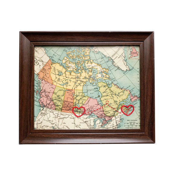 Winnipeg to Halifax Connecting Hearts Canada Map - 8x10