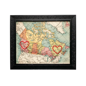 BC to Quebec Connecting Hearts Canada Map - 8x10