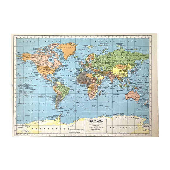 World/North America Vintage Atlas Page