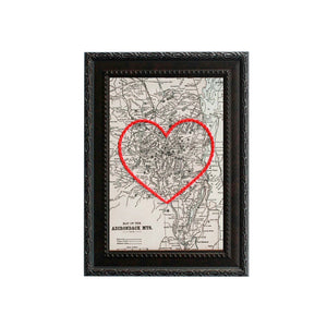 Adirondack Mountains Heart Map