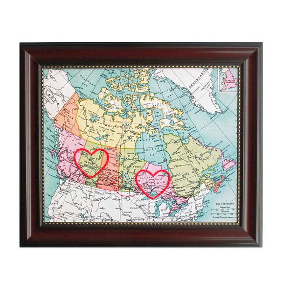 Alberta to Ontario Connecting Hearts Map