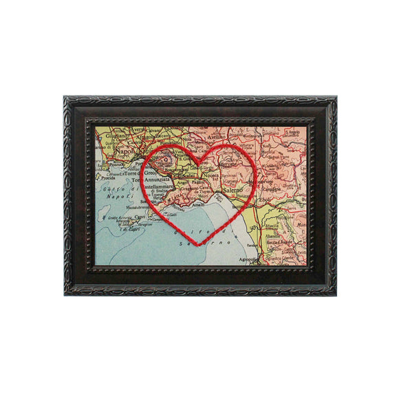 Amalfi Coast Heart Map