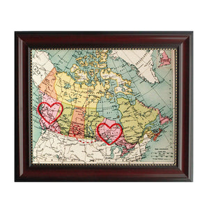 British Columbia to Ontario Connecting Hearts Map