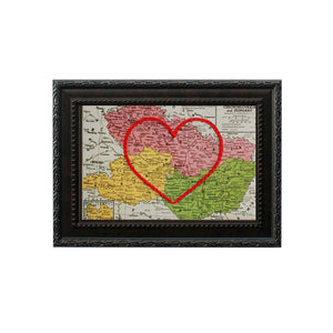 Czechoslovakia, Austria, Hungary Heart Map