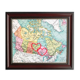 Manitoba to Ontario Connecting Hearts Map