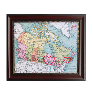 New Brunswick to Ontario Connecting Hearts Map