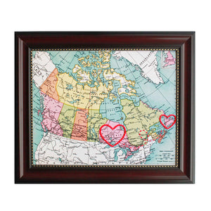 Newfoundland to Ontario Connecting Hearts Map
