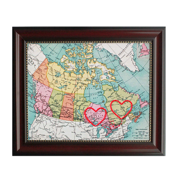 Quebec to Ontario Connecting Hearts Map