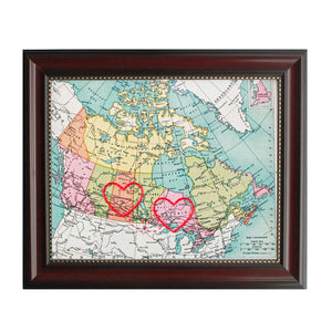 Saskatchewan to Ontario Connecting Hearts Map